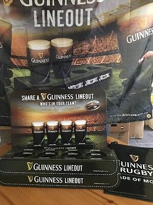 2 Guinness Line out Trays And Stand And Bunting