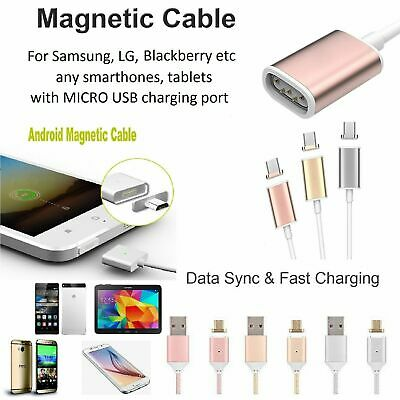 NEW Magnetic Charger Sync Data Cable Lead Braided MICRO USB Android phones table