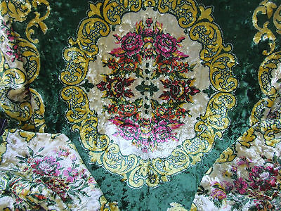 Vintage stunning green gold and red roses velvet chenille throw / bedspread