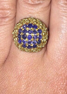 18k Solid Yellow Gold And Sapphire Cluster Ring 5.6 Grams