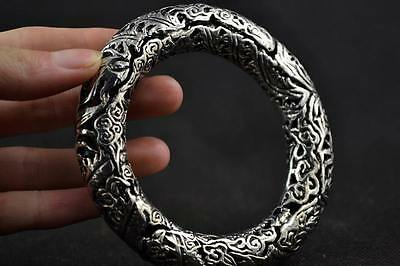 Old Collectibles Decorated Handwork Miao Silver Carving Dragon Phoenix Bracelet