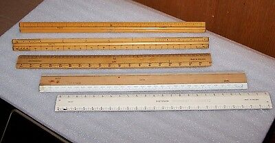 Vintage Lot Architect Drafting Triangular Scale Rulers Dietzgen Lutz, U.S.ST'D,