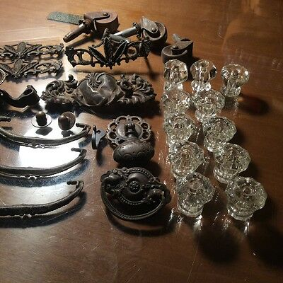 Vintage Furniture Hardware Drawer Pulls Glass Knobs Steampunk Ornate Metal Lot