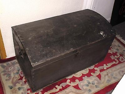 Vintage antique pine domed chest / trunk genuine original conditiion