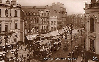 Castle Junction Belfast Antrim Ireland Rp Eas Irish Postcard Posted Sept 1913
