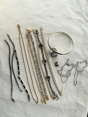 Scrap Sterling Silver Large Lot Bracelets Necklaces Rings Some Broken Most Okay