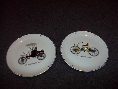 Vintage Winton Automobile 1898 & Fords first car 1896 collector plate wall hangi