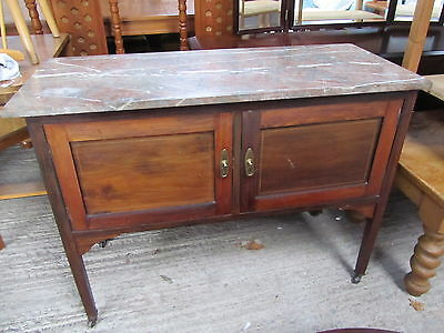 Antique Washstand with Marble Top, Inlaid Door detail on Castors