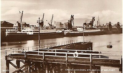 CROSS CHANNEL STEAMERS AT BELFAST IRELAND RP POSTCARD No. 6692 by D. CONSTANCE