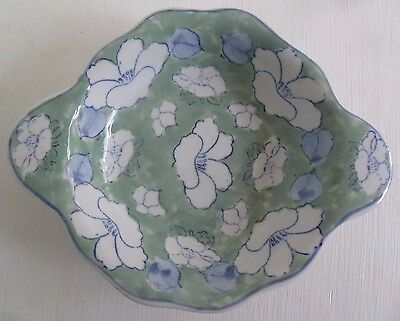 Lovely Small Eared Shaped Dish - Green & Floral Pattern