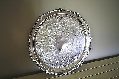 "Reduced - Silverplate Birks Rideau Plate Ornate 16"" Diameter Tray"