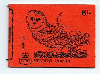 Gb  Stamp Booklet ~ Barn Owl  ~ Complete With Stamps Mnh ~ January 1969