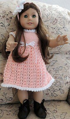 Knitted Dress with lace pattern Skirt & Facinator for 18 inch Dolls