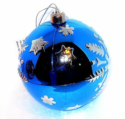 Musical Blue Snowflake ornament We Wish You A Merry Christmas USA SELLER