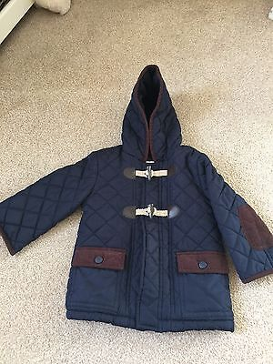Boys Navy Blue Quilted Jacket Coat
