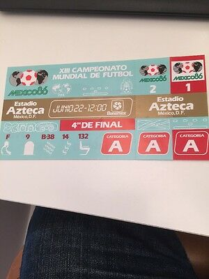 World Cup Quarter Final Ticket Mexico 1986
