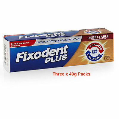 Fixodent  Plus Premium  Denture Adhesive Dual Power Three x  40g  Packs