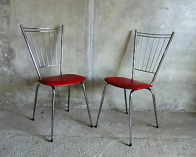 Set 2 Bistro chairs with red leatherette. Vintage kitchen furniture. Soudeurop