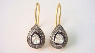 .30cts Rosecut Diamond Victorian Vintage Look  Earrings With 92.5% Silver