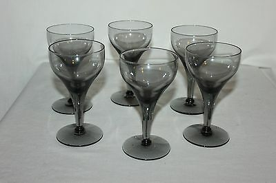 Gorgeous Gray Smoke Colored Crystal Stemware Set Of 6