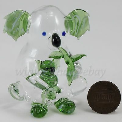GREEN KOALA w BABY in tummy Hand Blown COLOR Glass Miniature Figurine