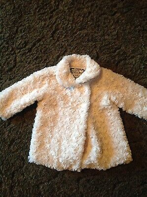 Twinkle & Sparkle baby girls cream faux fur coat age 6-9 months