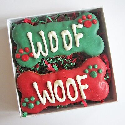 Woof Times Two Christmas Dog Treat Gift Box - Free Shipping
