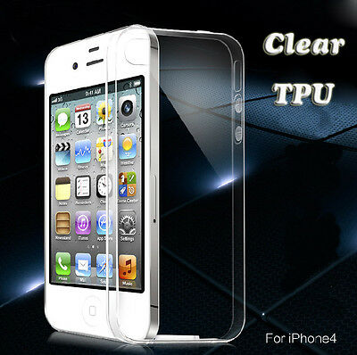 Ultra Thin Soft TPU Gel Silicon Clear Crystal Case Cover For Apple iPhone 4 4S