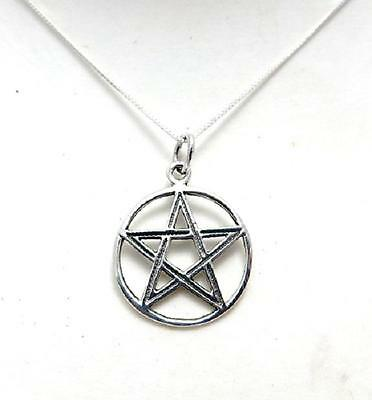 Pentagram in Circle pendant necklace sterling silver .925 pagan gift fine chain