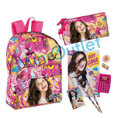 Set Mochila Soy Luna Disney Estuche Calculadora School Bag Set Pencilcase Calcu