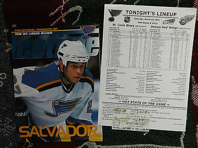 2001 NHL ICE HOCKEY PROGRAMME & TICKET - ST LOUIS BLUES v DETROIT RED WINGS