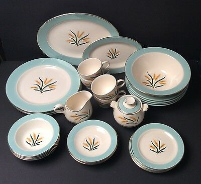 Vintage 29pc Old International D.S.Co Alliance Ohio Viking China Dishes Set Plus