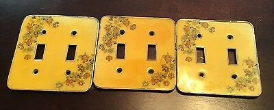 Vintage Metal Double Light Switch Covers Lot Of 3