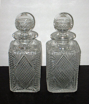 PAIR antique cut CRYSTAL DECANTERS w/ cut STOPPERS