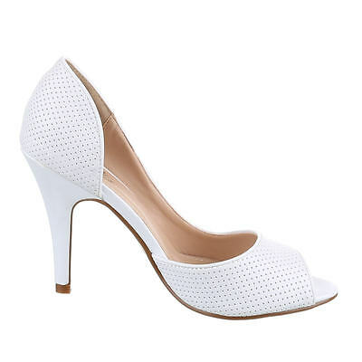 Fashion Pumps Damen Schuhe Sandaletten Heels Stiletto Peep 10-2315 Toe Weiß 40