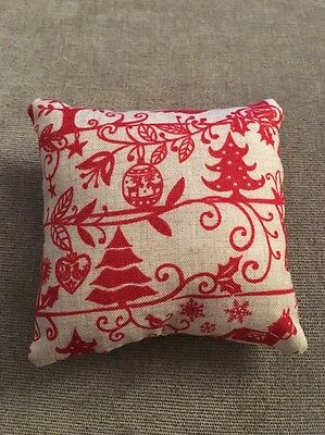 Handmade square mini pillow cat toy with catnip gift pet Christmas Red Holly