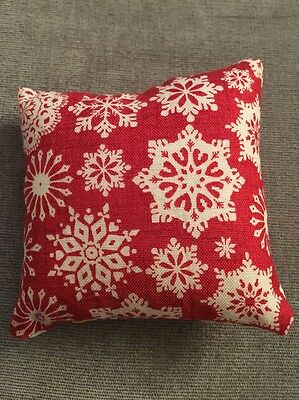 Handmade square mini pillow cat toy with catnip gift pet Christmas Red Snowflake