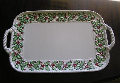 "Fitz & Floyd Holly & Basket Weave 21"" Large Christmas Platter 1989"