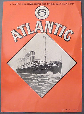 Vtg Advertising/ Broom Handle Wrapper/ Cleaning/ Sailing Ship/ Atlantic/ Nice!!