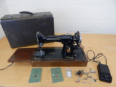 Heavy Duty Singer 201K Electric Sewing Machine Dated 1951 With Case ~ Working