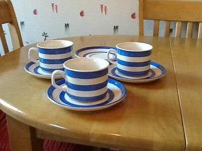 T G Green Cornishware Cups and Saucers