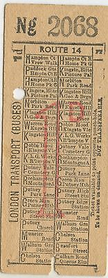 Bus Ticket; London Transport Buses route 14