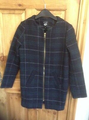 Girls New Look Generation Blue And Green Tartan Long Line  Coat age 10/11 Years