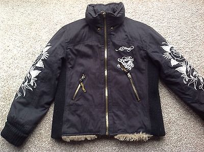 Ed Hardy Luxurious Fur Lined Jacket 8 Years Vgc