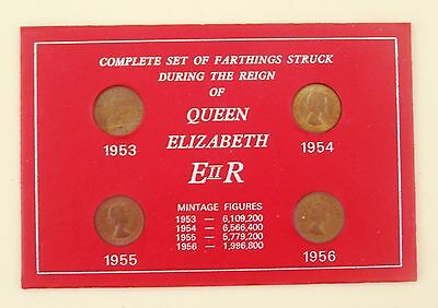 Set Of Farthings Struck During The Reign Of Queen Elizabeth Ii. 1953-1956