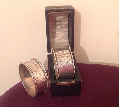 Two Antique Solid Silver Engraved Napkin Rings As Shown, Both Hallmarked Chester
