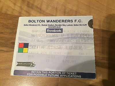 Ticket Stub - Bolton Wanderers v Liverpool 27th August 2001