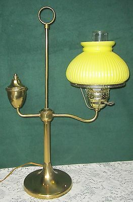 Vintage Brass Student Lamp Yellow Ribbed Glass Shade