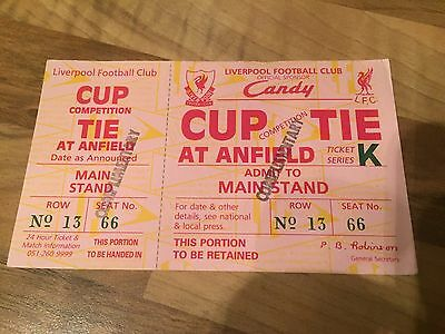 Unused Ticket Stub - Liverpool at Anfield, Unamed League / FA Cup Tie - c. 1989