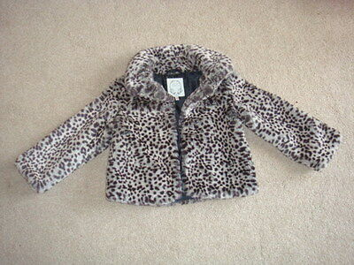 Girls Leopard Print Faux Fur Jacket - M&S - Age 5-6